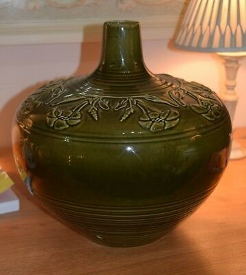 large Honiton pottery green lamp base