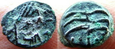 Byzantine Empire: Maurice Tiberius.Æ Nummus[palm tree] -Carthage mint. Rare++