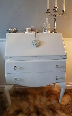 Shabby chic antique bureau writing desk white with crystal knobs, queen ann legs