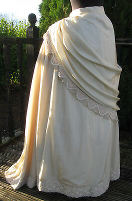 Vintage Late Victorian Style Theatrical Cream Coloured Silk Bustle Skirt Sz XS-S