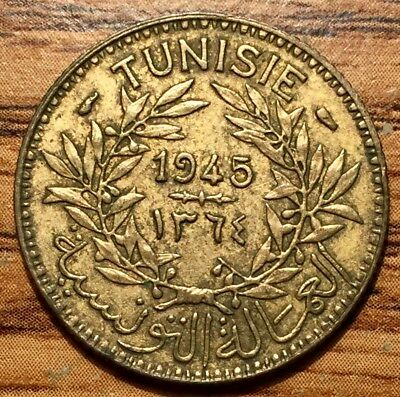 1945 Tunisia 1 Franc Coin Paris Mint Condition About UNC.