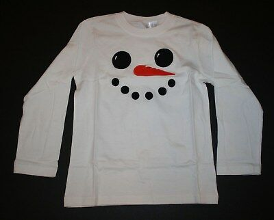 New Gymboree Outlet Ivory Snowman Face Tee Shirt Top NWT 2T 3T 4T 5T Long Sleeve