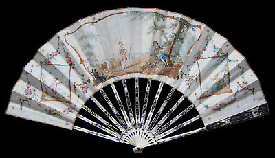 Nice Antique 18th Century English or Dutch Painted & Carved Fan Eventail ca 1780