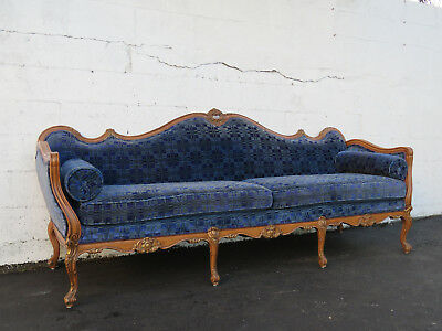 French Heavy Carved Long Solid Wood Sofa Couch with Gold Highlight  8735