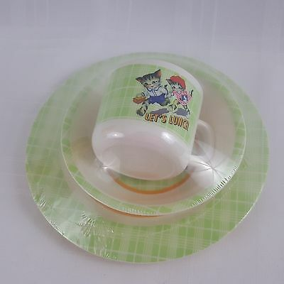 Michel Design Works Baby's First Plate Set Let's Lunch Vintage Kitten Design New