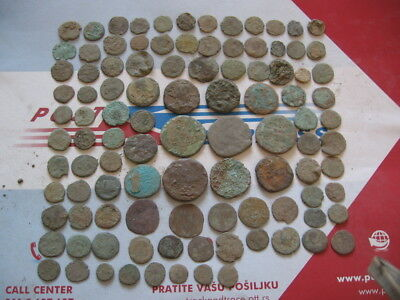 PERFECT LOT OF 100 ANCIENT ROMAN UNCLEANED COINS Sestertius... Ae1-Ae4 255 gr. 3