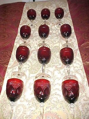 """Vintage Ruby Red Clear Glass Goblets - Set of 12 Wine Glasses 8"""" Tall Leaf Cut"""