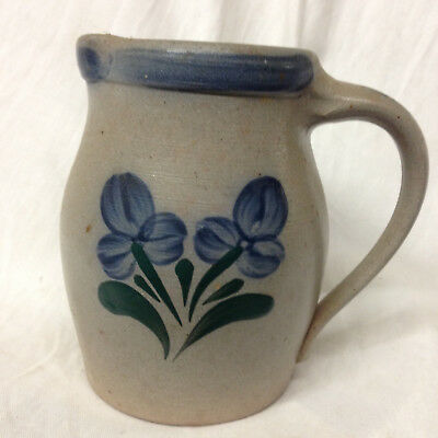 "Rowe Pottery Works 1997 Glenflower Pitcher 5 3/4"" Salt Glaze Blue Flowers"
