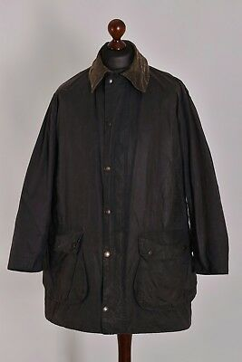 Men's Barbour Border Navy Waxed Jacket Size C42 / 107cm Genuine Casual Waxed
