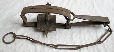J Watkins #6 Hand Forged Iron Trap Single Spring Working Old Vtg Antique