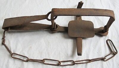 Hand Forged Iron Trap 1800s RJB WH Single Spring Old Vtg Antique