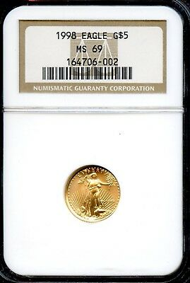 Amazing 1998 NGC MS69 Gold Eagle $5 Dollar .9167 Fine Coin VG732