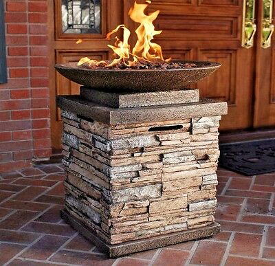 Firebowl Propane Gas Fire Pit With Lava Rocks Square Stone Outdoor Heating Patio