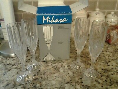 Set of 4 Mikasa Park Lane Crystal Fluted Champagne Glasses New in Box