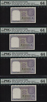 TT PK 75b 1957 INDIA 1 RUPEE EXOTIC SEQUENTIAL S/N 2017-2020 PMG 64 SET OF 4!