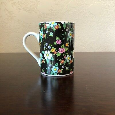 At Home With Mary Engelbreit 2002 Black & Colorful Flower Pattern Coffee/Tea Mug