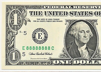 2006 $1 Federal Reserve Note - Solid Serial # E88888888C - Gem New Pcgs 66 Ppq.