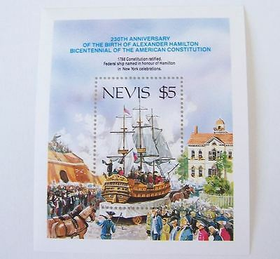 Nevis 1987 Mnh ** Boat Ship Bateaux Barco Usa Independence American Constitution