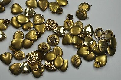 64 Vintage Assorted Brass Lockets, USA Made, Mostly Antique Brass Finish -V3610