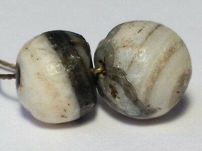2 Ancient Rare Indo-Tibetan Banded Agate Beads