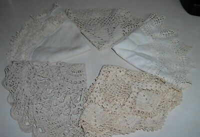 "Lot of 5 Vintage Hand Crocheted Beige Doilies ~14"" (3), 12"" (1), 13""(1) Varied"