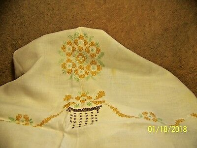 Nice Vintage Cream Colored Square Linen TABLE CLOTH With Gold Cross Stitch Trim