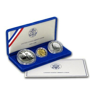 1986 Statue of Liberty 3 Coin Proof Set with Box & COA