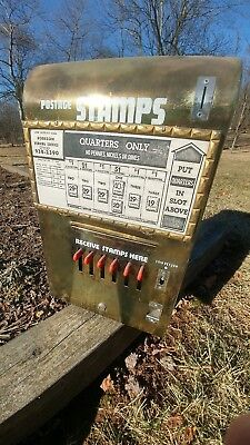 Vintage Postage Stamp Vending Machine Gold Finish Lucky Number Pull Tab Bingo