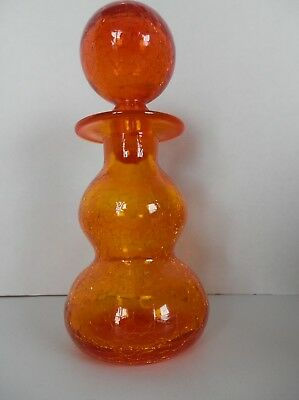 Crackle art glass orange decanter bottle with ball stopper Rainbow Glass
