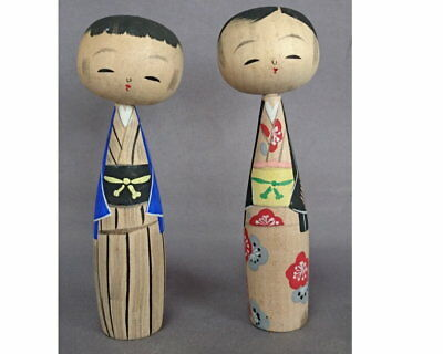 Vintage Japanese pair of lovely nodder Kokeshi doll with kimono 1801023