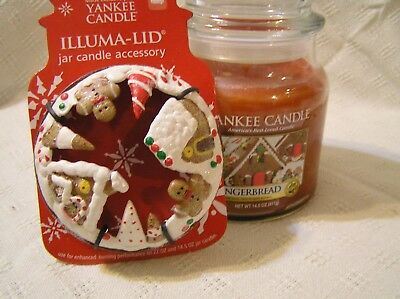 YANKEE CANDLE 14.5 CHRISTMAS Gingerbread Village Candle Illuma Lid TOPPER NEW