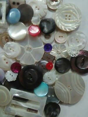 Beautiful Lot of 100+ Antique~ Vtg Carved Tinted MOP Shell BUTTONS Victorian++