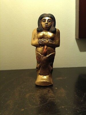 Rare Antique Ancient Egyptian Ushabti HoldGod Horus falcon water Gold1840-1760BC