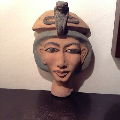 Rare Antique Ancient Egyptian Pharaoh Akhenaten Mask first unify Gods1353–1336BC
