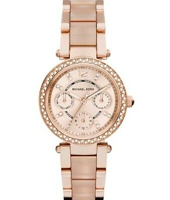 New Michael Kors Parker Rose Gold Blush Crystal Set MK6110 Watch for Women 33mm