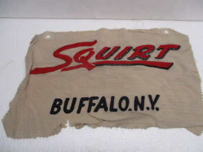 """Vtg Embroidered Textile Advertisement Squirt Soda Pop Buffalo NY USA  16"""" x 9"""""""