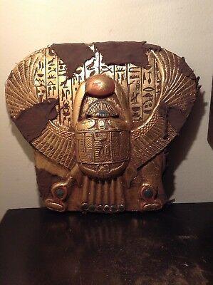 Rare Antique Ancient Egyptian Winged Scarab Water Gold Hold Sun&Luck 1860-1740BC