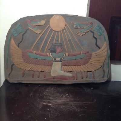 Rare Antique Ancient Egyptian Stela Goddess Isis Winged God Aten 1530-1440BC