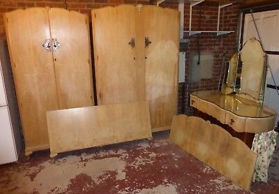 Vintage Bedroom suite, ladies and gents wardrobe, headboard, dressing table