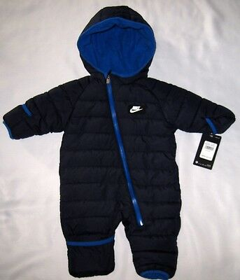 Infant Baby Boy Nike Bunting Quilted Insulated Snowsuit Hood 1Pc Blue 3-6 Mo Nwt