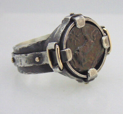 Men's silver & Gold legionary military cavalry ring with ancient authentic coin