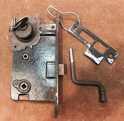 Antique Cast Iron and Brass Lock, Key and Door Plate