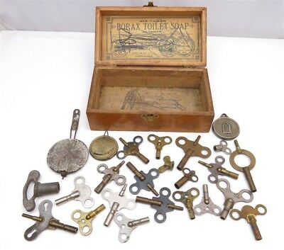 Lot of Misc. Antique Clock Keys and Small Parts in Vintage Borax Soap Box