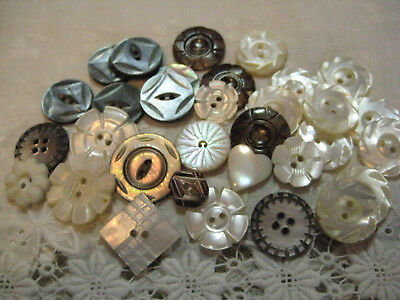 Lot Of Small To Medium Antique & Vintage Carved Pearl Buttons/ Sets +