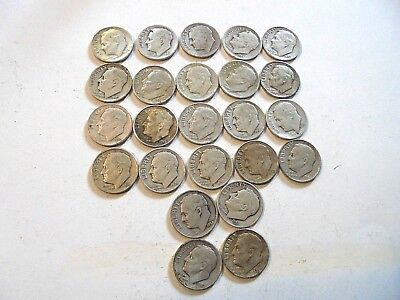 24 Silver Roosevelt Dimes-Includes Key 1949 S & 1955 P-Estate Closeout-Nice Mix!