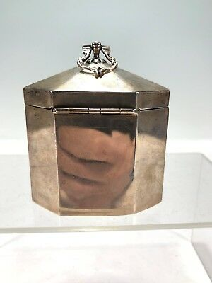 1901 London English Gilt Silver Tea Caddy Box Octogonal Shape Charles Pilling