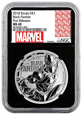 2018 Tuvalu Black Panther 1 oz Silver Marvel $1 NGC MS69 FR Black Core SKU52244