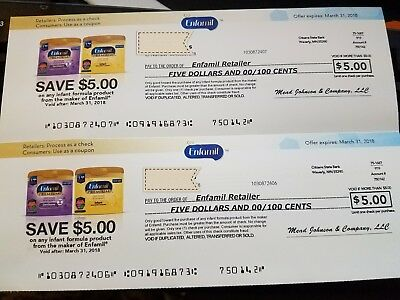 2 Enfamil $5 off coupons, expire 3/31/2018 I pay shipping USPS First Class!