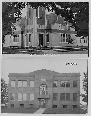 2 1910-20 era Dutch Reform Church & School Clymer New York postcards