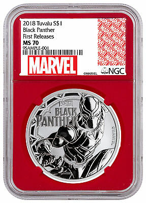 2018 Tuvalu Black Panther 1 oz Silver Marvel $1 NGC MS70 FR Red PRESALE SKU52247